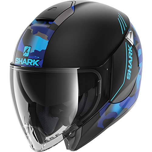 Shark HE1935EKBBXL Citycruiser Genom - Casco de motocicleta para motocicleta (talla XL), color negro mate y azul (KBB)