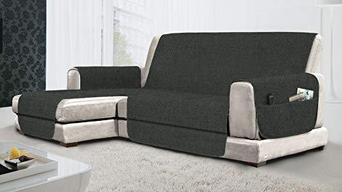 MB HOME BASIC Funda de sofá Antideslizante con Chaise Longue SX Relax, Gris, 190 cm