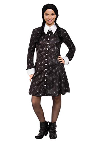 Addams Family Wednesday - Disfraz de niña (talla XL), color negro
