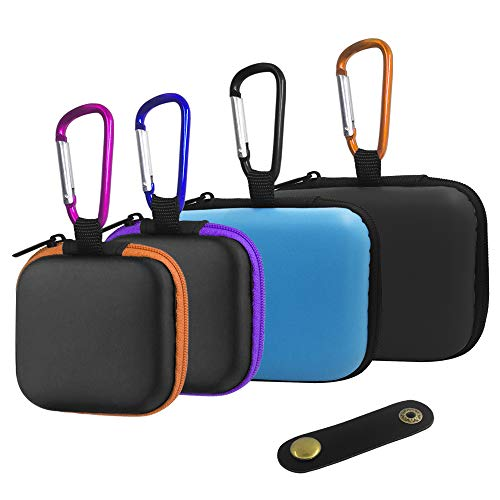 FineGood - 4 Fundas para Auriculares y 1 Clip de Cable, Bolsa de Almacenamiento portátil de EVA con mosquetones para Mini Auriculares con Cable USB, Color Negro, Azul, Naranja, Morado