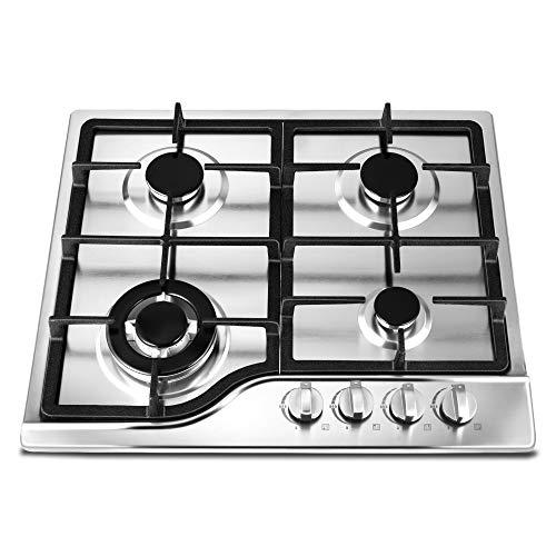 Kacsoo Cocina de gas integrada, 4 quemadores de acero inoxidable, encendido por pulso, a prueba de arañazos, alta eficiencia energética