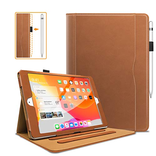 WeeYuu New iPad 10.2 inch 2019 Premium PU Leather Case Cover with Folding Stand for Auto Sleep/Wake, Pen Holder and Multiple Viewing Angles for iPad 7 Gen 10.2 Inch brown brown