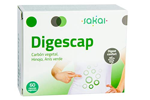 Sakai – Digescap- Acaba con las digestiones pesadas – Alivia los Gases y la hinchazón abdominal – Calma las molestias digestivas - Con Carbón Vegetal, Hinojo y Anís Verde