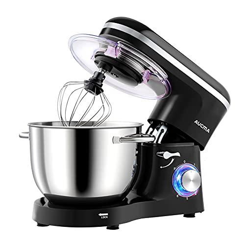 Aucma Küchenmaschine Knetmaschine 1400W, 6.2L Reduzierte Geräusche Knetmaschine mit Rührbesen, Knethaken, Schlagbesen und Spritzschutz, 6 Geschwindigkeit mit Edelstahlschüssel Teigmaschin(Schwarz)