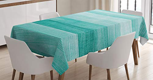 Ambesonne Teal Tablecloth, Painted Wood Board with Horizontal Lines Birthdays Easter Holiday Print Backdrop Image, Rectangular Table Cover for Dining Room Kitchen Decor, 60' X 84', Turquoise