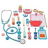 VILLCASE Kit Médico Doctor Juguete Niños Juego de Roles Juguete Madera Dispositivos Médicos Conjunto Doctor Disfraz Juego de Simulación Juguete para Bebés Niños Disfraz Cosplay ( Color