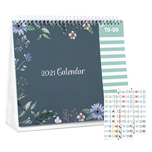 STOBOK 2021 Calendario de Escritorio 2021 Año Completo Flip Permanente 12 Meses Calendario de Escritorio Patrón de Flores con 2 Hojas de Adhesivos para La Oficina en El Hogar de La