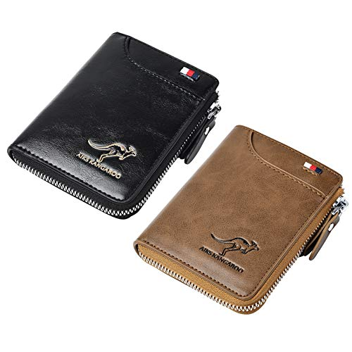 Mens Wallet, RFID Blocking Slim Flip Wallets, Credit Card Holder, Leather Zipped Wallets for Men,Holds up to 13Cards, 1 Bank Notes,Coin Pocket, Credit Card Slots, ID Window,etc. (Khaki)