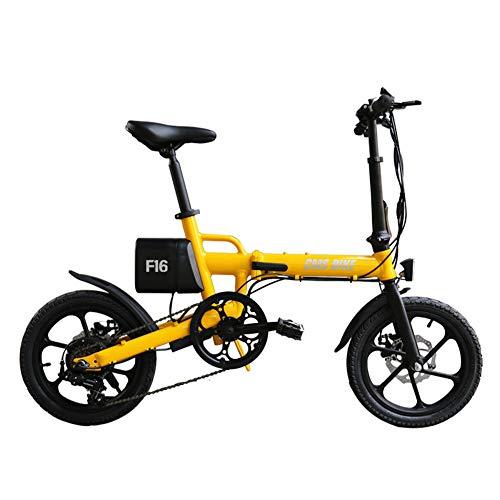 Xiuxiu Ruote Pieghevoli Bici elettrica Pieghevole Bici elettrica da 16 Pollici, 35 km/h Ruote Bici elettrica Mountain Bike Pieghevole con capacità Batteria al Litio, indicatore LED, 250W Max,Yellow