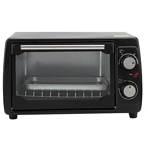 Mini four électrique et gril de 10L, four grille-pain avec convection avec plaque de cuisson et pince pour plaque de cuisson en alliage d'aluminium, four de cuisson domestique noir(EU Plug 220V)
