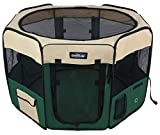EliteField 2-Door Soft Pet Playpen, Exercise Pen, Multiple Sizes and Colors Available for Dogs, Cats and Other Pets (62' x 62' x 36'H, Beige+Green)