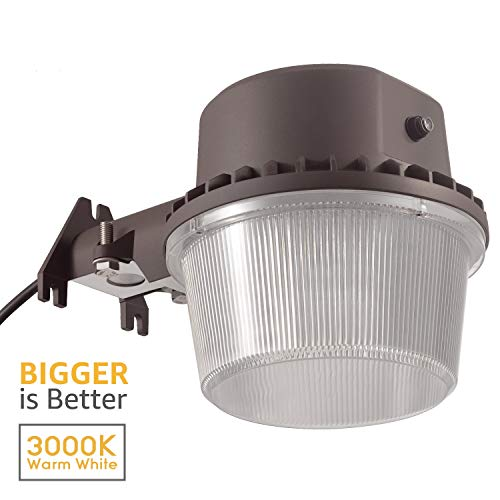 TORCHSTAR Dusk to Dawn Area Light with Photocell, 3000K Warm White Outdoor Security Floodlight, DLC & ETL-Listed for Yard Patio, Bronze, 5 Years Warranty