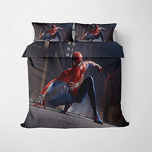 Set di biancheria da letto Spider-Man 3D Cartoon stampato set biancheria da letto per bambini, per letto singolo, matrimoniale (stile 5,260 x 230 cm + 80 x 80 cm x 2)