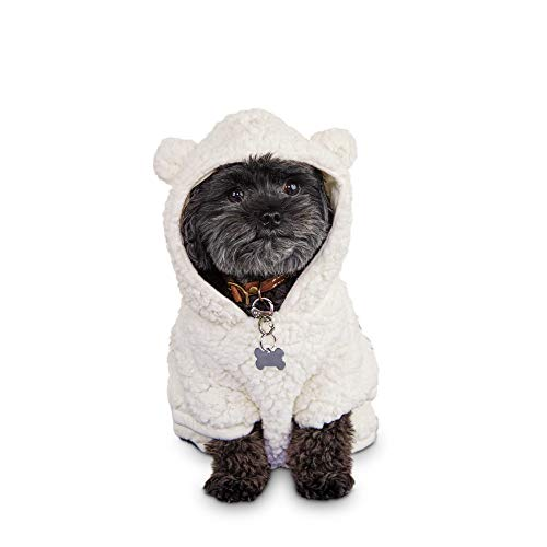 Bond & Co. Cozy Critter Dog Hoodie, XX-Small, Cream