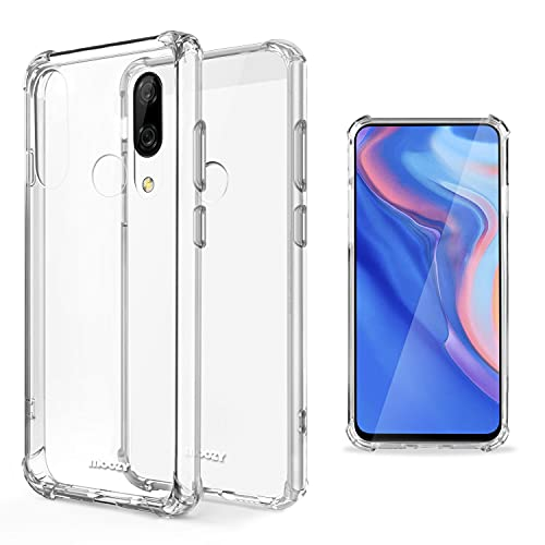 Moozy Cover Silicone Trasparente per Huawei P Smart Z - Custodia Antiurto, Crystal Clear Case, TPU Morbido