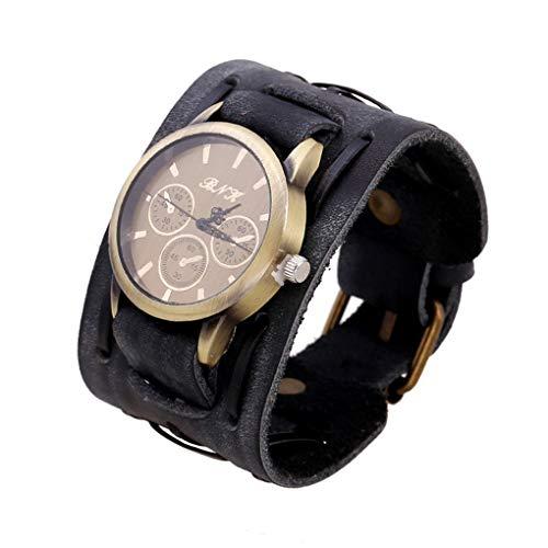 teng hong hui Los Hombres Pulsera Retro Banda de Reloj Masculino Ancha Correa de Cuero Reloj de Pulsera Cinturón de Cuero Reloj de Cuarzo de la Vendimia