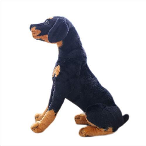 Boufery Rottweiler Hund Plüsch Spielzeugpuppe, realistische Kuscheltier Black Dog Kinderspielzeug, Kinder 46cm