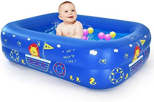 WEY&FLY Piscina familiar, piscina infantil para nadar, jugar al dormir, piscina hinchable hinchable bañera, 2 anillos (115 cm, azul)