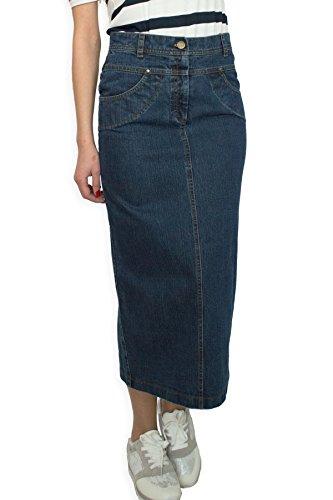 Damen Freizeit Rock Bleistift voller Länge Boutique Blau Denim Jeans Größe EU 36 38 40 42 44 46 48 50 (48)