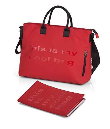 Be Cool Mamma Bag Bolso Cambiador con Anclaje Universal, con Estuche Isotérmico para Biberones, Varios Bolsillos, Color Red