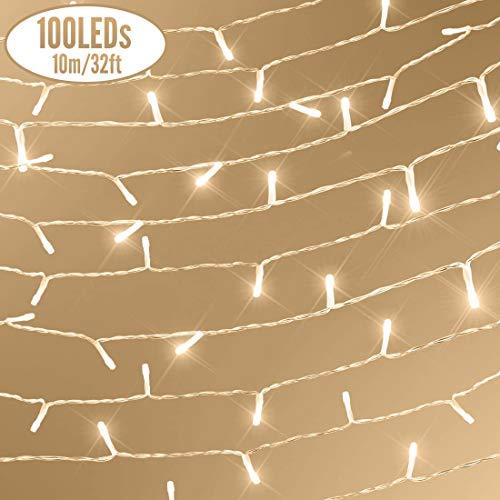 100 LED Lichterkette, für außen/innen, mit 4 Timer-Programme, 8 Stimmungslicht-Funktionen, AA Batteriebetrieben, 11m Warmweiß, IP65 Wasserdicht Outdoor Deko-Lichterkette für Weihnachten, Party