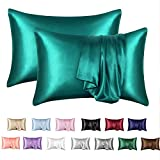 MR&HM Satin Pillowcase Set of 2, Queen Size Silky Pillow Cases for Hair and Skin No Zipper, 2 - Pack Pillow Cover with Envelope Closure (20x30, Teal)