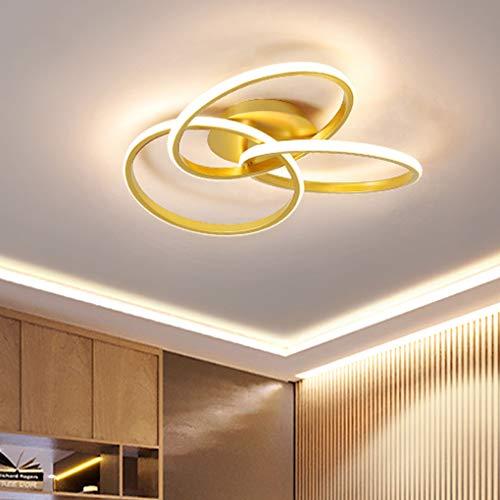 Zi Yang Moderno LED Lámpara de Techo Creativo Atenuación Control Remoto Planchar Aluminio Acrílico Geométrico Lámpara de Techo Elegante Sala Comedor Habitación Estudiar Bar Iluminación de Techo,Oro