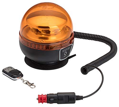 AdLuminis LED Rundumleuchte Kabellos Mit Akku Und Magnetfuß, KFZ Warnleuchte Mit 3 Leuchtmodi, Inkl. Fernbedienung, Ladegerät u. Steckerkabel, Blinkleuchte Gelb Orange Für 12V / 24V Geeignet