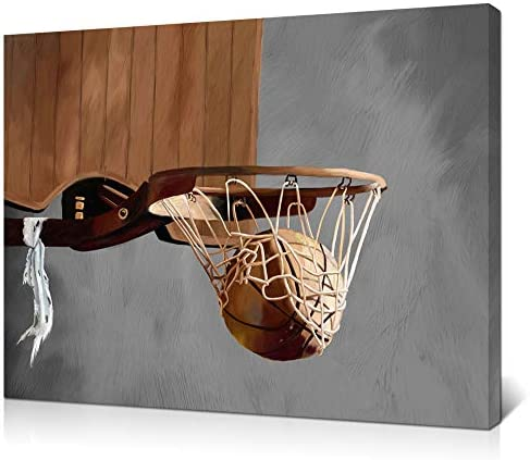 LoveHouse Rustic Basketball Painting Print Sports Theme Canvas Wall Art Basketball Going Through product image