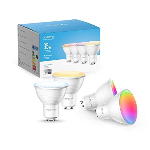 Smart LED Lampe GU10 Bluetooth Mesh Glühbirnen, Popotan Warmweißes Ambiance Spot Strahler, 300 Lumen, 2700K-6500K RGB Lampen, Musik Dimmbar, Smart Home Licht, 4er Pack (Unterstützt Nicht WiFi)