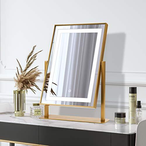ANDY STAR Espejo de tocador, espejo de maquillaje iluminado con 2 modos de iluminación de color para mesa, rectangular de 35 x 45 cm, rotación de 180 ° y espejo de maquillaje con control táctil inteligente para dormitorio (dorado)