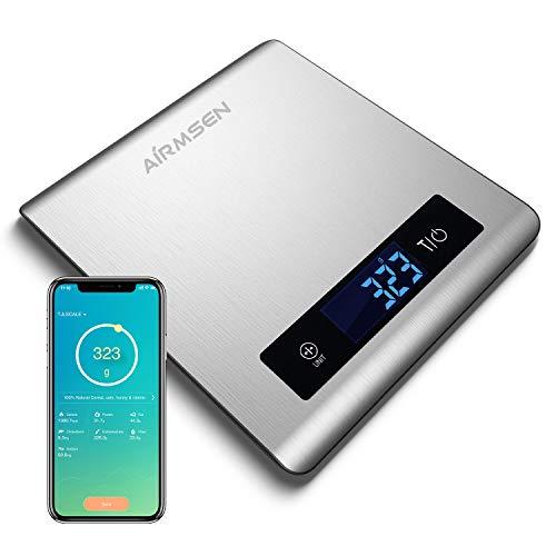 AIRMSEN Küchenwaage Digitalwaage Elektronische Waage 5KG mit Bluetooth-Anwendung, Großer Lebensmittelgerechter Edelstahloberfläche an Kalorien Berechnen, Inkl.Batterie
