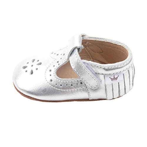 Liv & Leo Baby Girls Mary Jane Sandals Moccasins Soft Sole Crib Shoes Slip-On Leather (12-18 Months, Silver Dot)