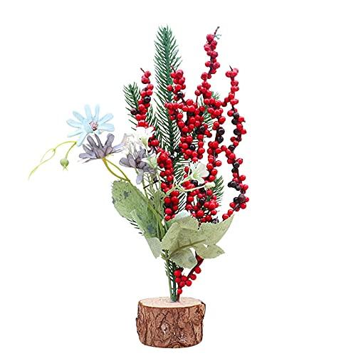 Mini albero di Natale, albero di Natale artificiale da tavolo con ornamenti pigna, bowknot e bacche rosse, decorazione natalizia per tavolo di Natale e piani da scrivania