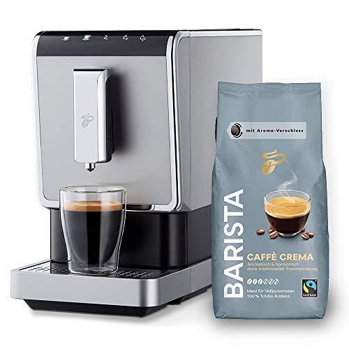 Tchibo Kaffee Vollautomat Esperto Caffè 1.1 (19 bar, 1470 Watt), Edelstahl Silber (inkl. 1Kg Barista Caffè Crema)