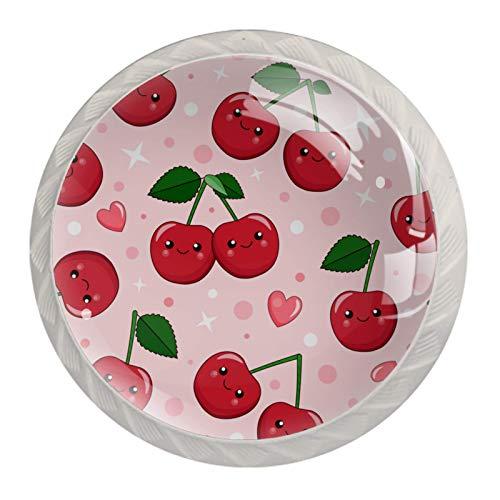 Juego de 4 tiradores de cajón y pomos para cajones con tornillos, cristal de cristal, para cajón, gabinete, tirador de armario, accesorios de dibujos animados rojo cereza sonrisa rosa corazón 35 mm