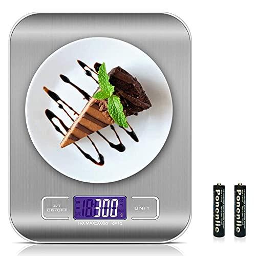 Bilancia da Cucina Digitale, solawill 5kg/11 lbs Acciaio Inossidabile Bilancia Cucina con Funzione Tare,7 Unità di Conversione,Display LCD retroilluminato,Alta Precision Bilancia Elettronica Smart