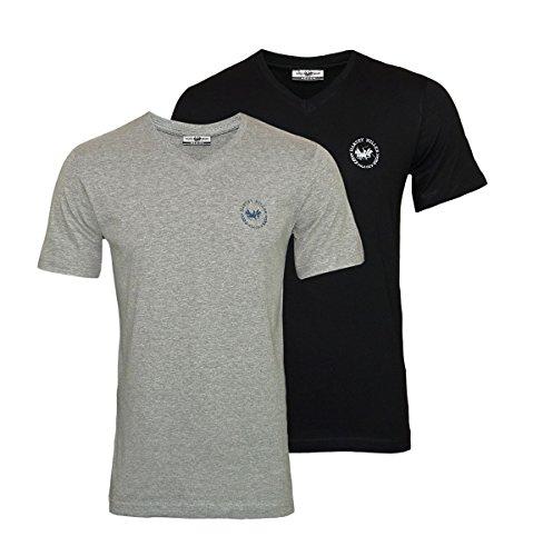 Harvey Miller 2er Pack T-Shirts V-Ausschnitt HRM4249 Black Grey Melange W18-HMT1 Größe XXL