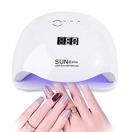UV LED Lampe für Gelnägel, Upgraded 120W Nageltrockner für Gel Nagellack, Auto-Sensor Aushärtelampe mit 4 Timer Einstellungen, Nagelwerkzeuge für Fingernagel und Zehennagel