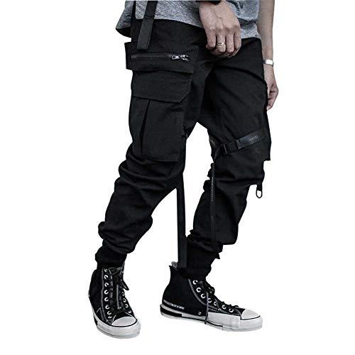 HONIEE Men's Hiphop Punk Jogger Sport Harem Pants Cargo Pants (Black#4, Waistline:30-32)…