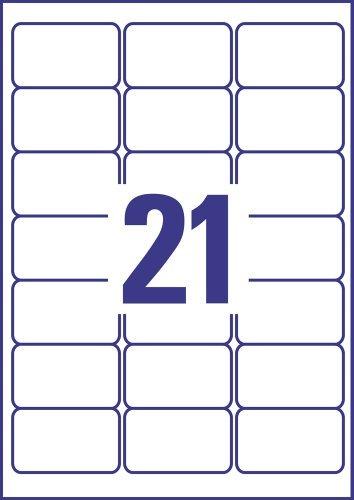 AVERY Zweckform J8160-10 Adressetiketten/ Adressaufkleber (63,5 x38,1mm auf DIN A4, bedruckbar, selbstklebend, ideal für C6 Briefkuverts, Papier matt, für Inkjet-Drucker, 210 Etiketten, 10 Blatt) weiß