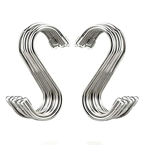 "Evob 20 Pack 3.4"" S Shaped Hooks Stainless Steel Metal Hangers Hanging Hooks for Kitchen, Work Shop, Bathroom, Garden"