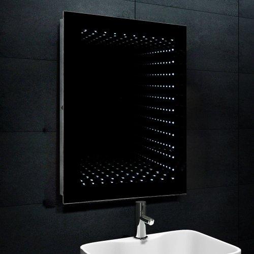 Lux-aqua 3D Effekt LED Beleuchtung Badezimmerspiegel Bad Spiegel Flurspiegel Wandspiegel 60x80cm FL1243W, Silber, 60 cm x 80 cm x 7 cm
