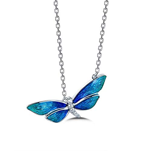 Dreamdge 18K White Gold Necklace Dragonfly Long Necklaces for Women, 0.07ct White Diamond Pendant Necklace