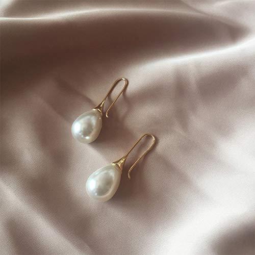 DFDLNL Pendientes de Oreja para Mujer, Pendientes de aro de Perlas Grandes para Mujer, Pendientes de Perlas de imitación Blancas con Gota de Agua, bisuteríaCorta paraMujer