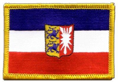 Flaggenfritze Flaggen Aufnäher Deutschland Schleswig-Holstein Fahne Patch + gratis Aufkleber