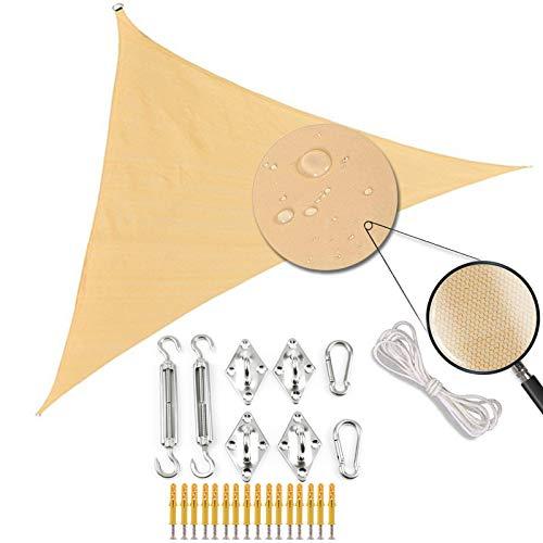 ZJHTK Sun Shade Sail Triángulo con Kit de Fijación Toldo de Protección Solar Protector de Sol Impermeable UV para Patio al Aire Libre Jardín Playa Party Camping,Dark Blue,6mX6mX6m