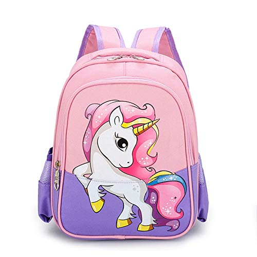 jwj Bolsas escolares Mochila de unicornio de dibujos animados Oxford Bolsa de viaje para niños y niñas, mochila escolar de jardín de infancia, bolsa de hombro doble (color: púrpura)