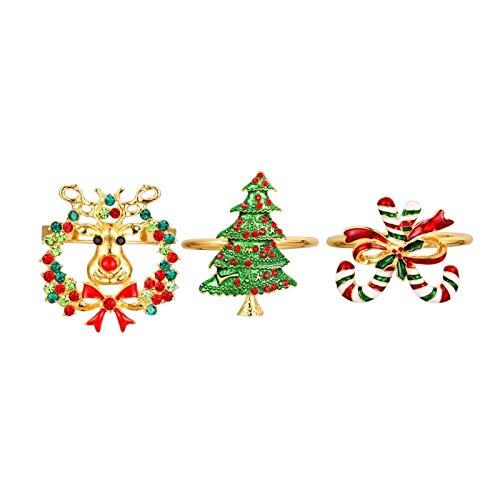 Exquisito 3 unids anillos de servilleta de fiesta delicada de la boda temática duradera hebilla de la servilleta sostener la servilleta para el hotel para decoración de mesa de hotel de vacaciones