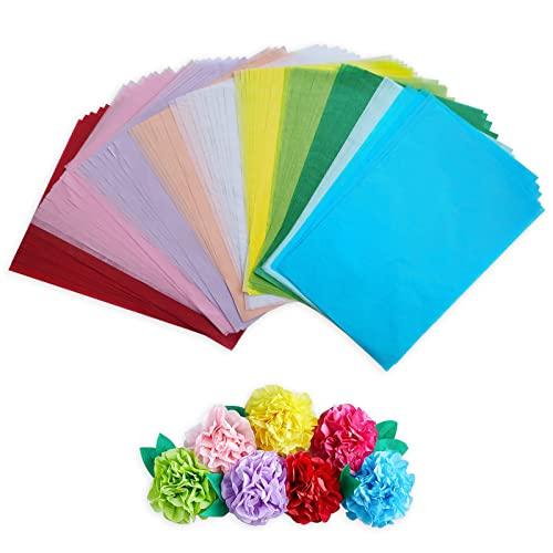 Seidenpapier 100 Blatt, 10 Farben A4 Bastelpapier Skizzen und Zuschnitt Papier, Seidenpapier zum Verpacken, Transparentpapier zur Herstellung von Papierblumen, Pompons und Tischdekorationen